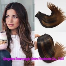 European Remy Human Hair extension two tone Double Drawn Balayage Highlighted hair weft