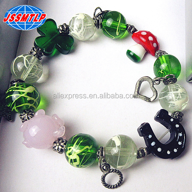 Custom Handmade lampwork glass pig/mushroom/horseshoes decorative bracelet Easter style DIY glass cartoon beads jewelry gifts