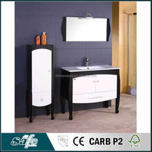 rubber wood modern bathroom vanity with side cabinet and mirror