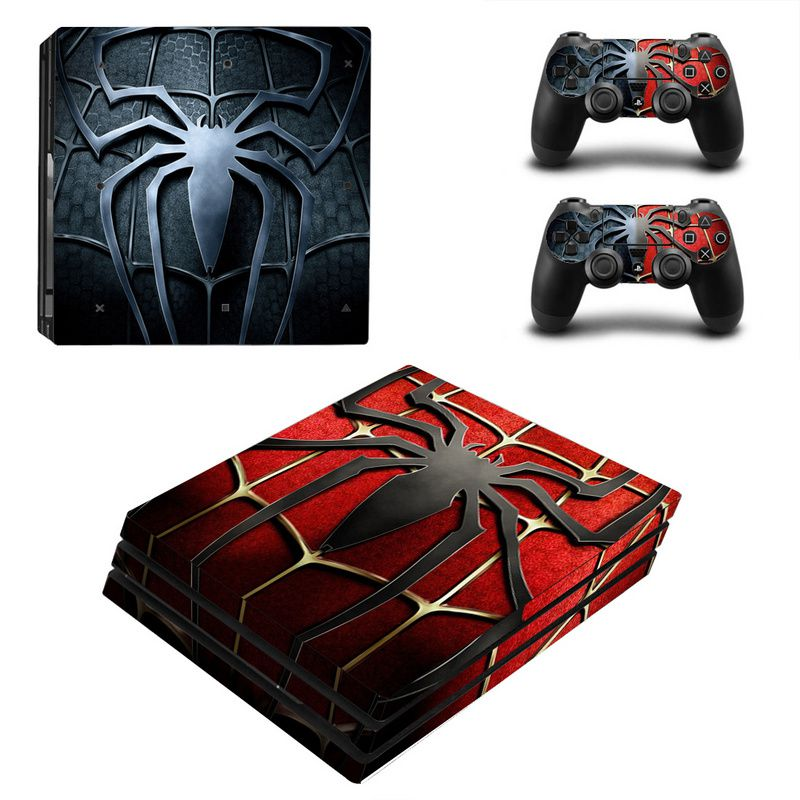 TECTINTER Spiderman Design Skin Sticker For Sony Playstation 4 Pro Console & 2PCS Controller Skin Decal For PS4 Pro Game Console