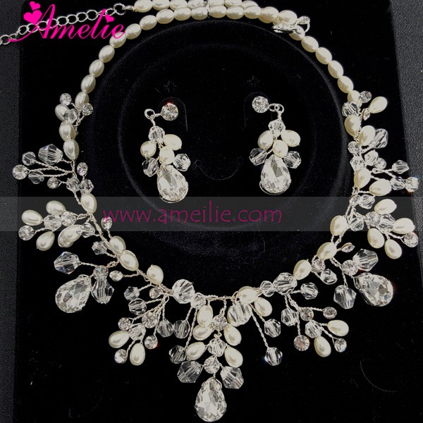 Handmade Wedding Party Latest Design Beads Necklace Choker Necklace and Earring Set