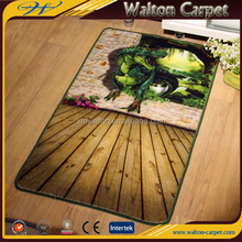 Dinosaur printed latex backing floor mat with nylon pile