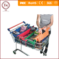 Fashionable 4 shopping trolley bags,foldable cart folding grocery reusable supermarket carry bag