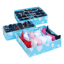 3pc/set Foldable Storage Organizer Box Underwear Bra Sock Ties fabric closet organizer