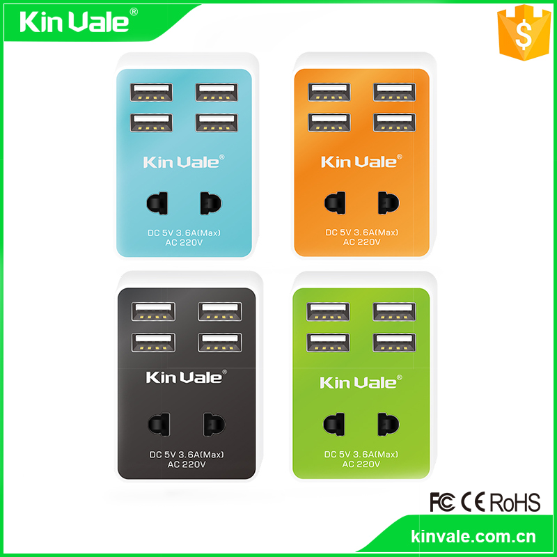High quality usb 2.0 4 port hub with mobile phone charger,wall charger