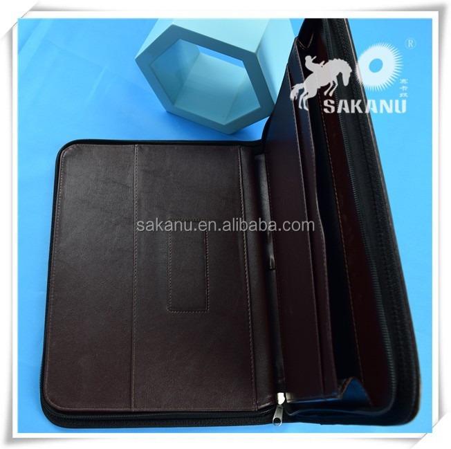 leather portfolio with key ring,customized zipper document bag
