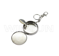 Metal plate pocket ashtray with key chain