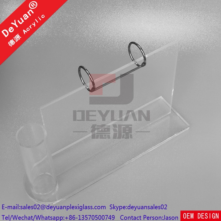 Plastic Desk Calendar Holder With Pen Holder Acrylic Stand Clear