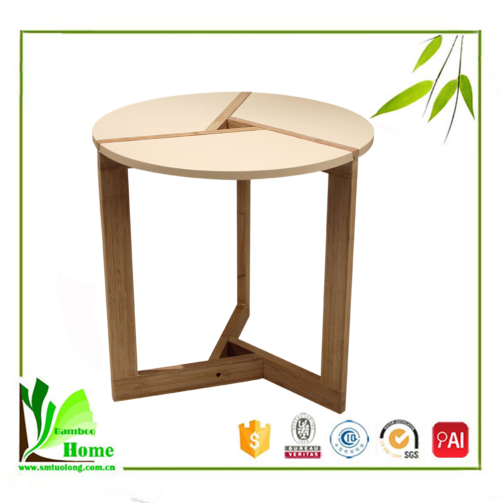 Good Reputation Bamboo Round White Coffee Table