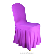 Factory Wholesale Quality high White Spandex Wedding Banquet Party Stretch Ruched Chair Covers Hotel Chair Cover With Skirt
