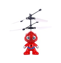 high quality mini cartoon doll with LED flashing infrared sensor flying super heroes helicopter toy