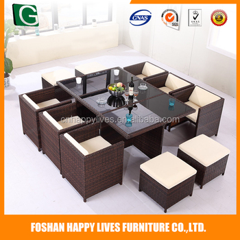 Hot sale !!! Dining table and chair sets , PE Rattan Outdoor Furniture from China