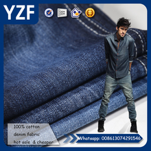 Popular bamboo denim fabric 100% cotton jean fabric 160cm width