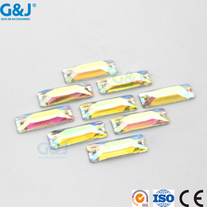 Guojie brand wholesale 2 hole sew on clothing rectangle colorful resin stone
