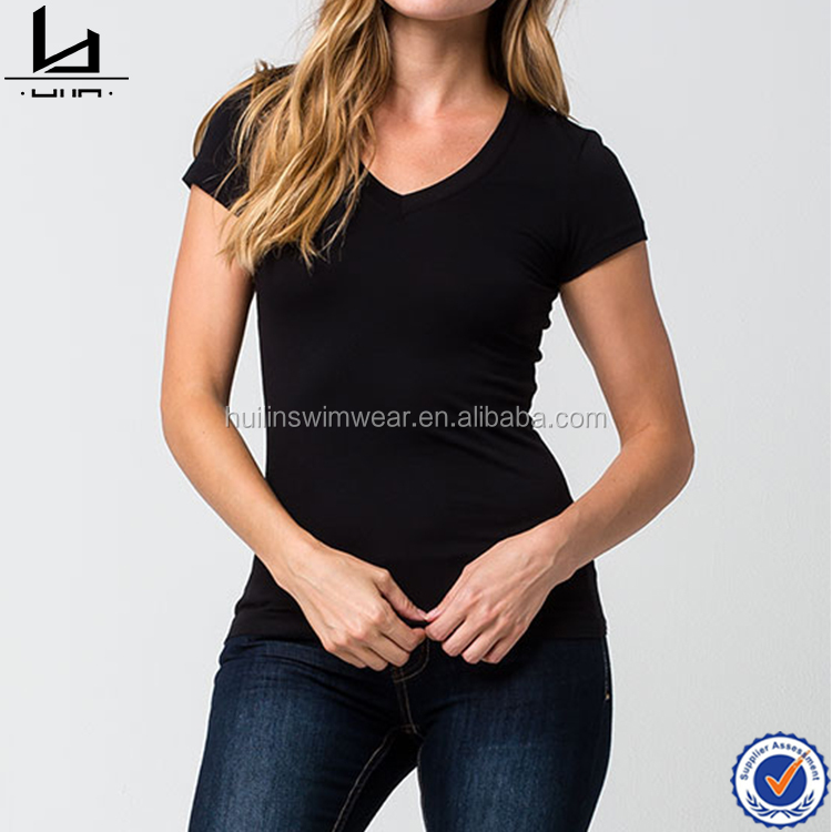 Wholesale ladies black deep v neck t shirt sexy woman t shirt wholesale bulk blank custom printed t-shirt for promotion