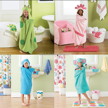 Wholesale Clothing 100% Cotton All-over Reacive Printed Baby/Child Hooded Bath Towel, Bbay Hooded Poncho