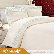 KOSMOS Bedding Polycotton Embroidery Lace China Bed Sheet Bedsheets Designs Pakistani