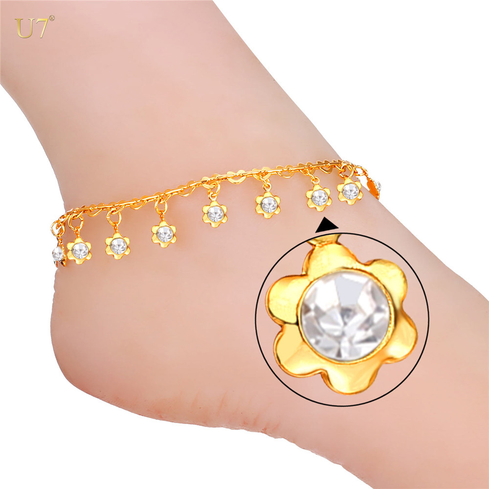 U7 Foot Chain Design Foot Jewelry with rhinestone crystal Gold Plated Flower Crystal Link Chain Ankle Bracelets For Women