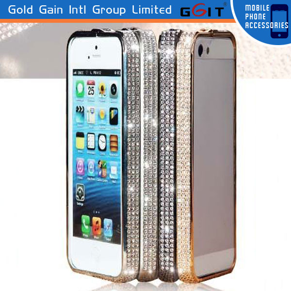 Crystal Rhinestone Diamond Bling Metal Bumper Case Cover For iPhone 5