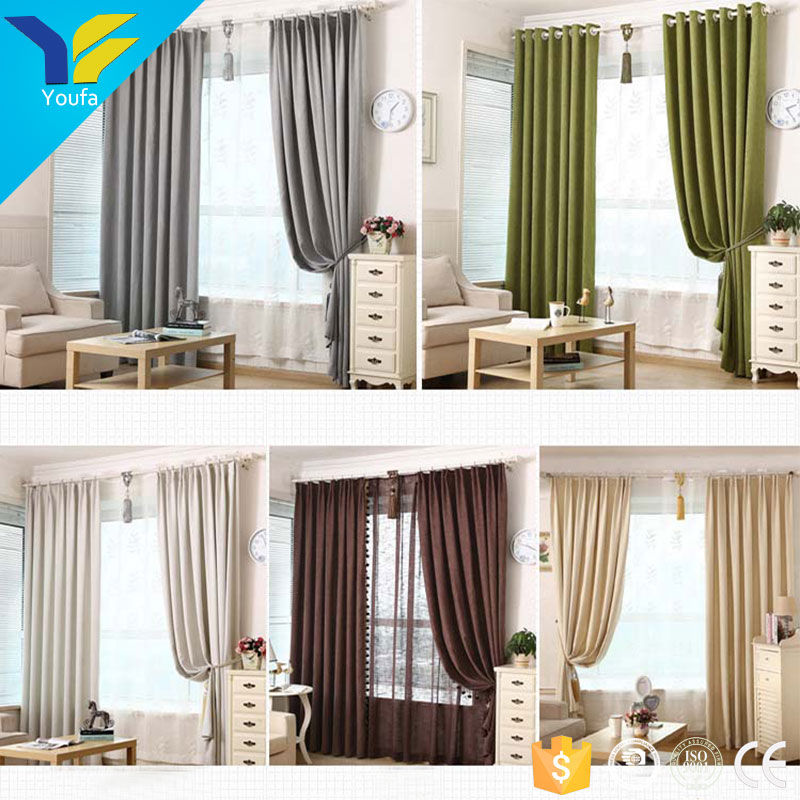 Guangzhou latest curtain designs 2017 sun shade cheap curtain fabric chenille type of office window curtain
