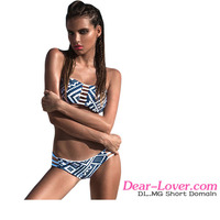 Wholesale Low Price Sexy Women Blue White Abstract Pattern Seamless Bikini Swimwear
