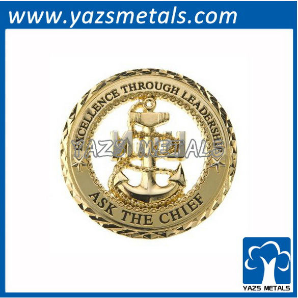 customize coins, custom navy&coast guard boat anchor coins with gold plating