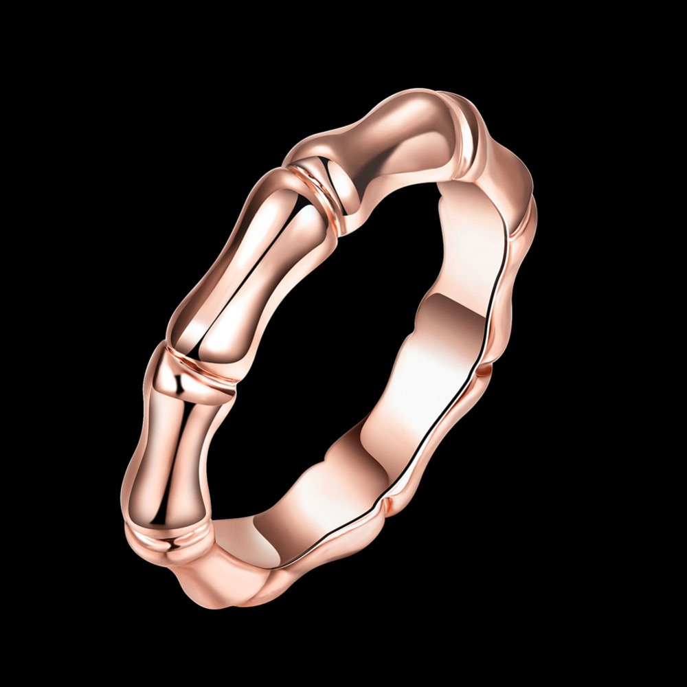 Bamboo ring rose gold rings stone jewelry