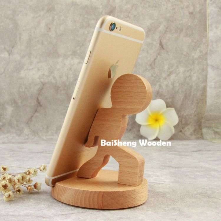 custom <strong>wooden</strong> crafts funny running boy cell phone holders for desk