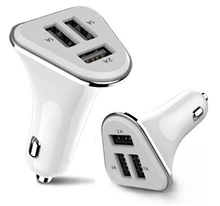 Fan Shape 3 USB Car charger 5.1A fast charging for iPhone and Samsung android phone