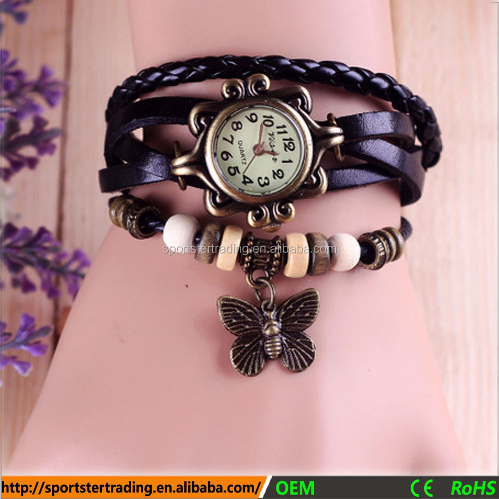 Women leather strap watch bronze case custom made watches