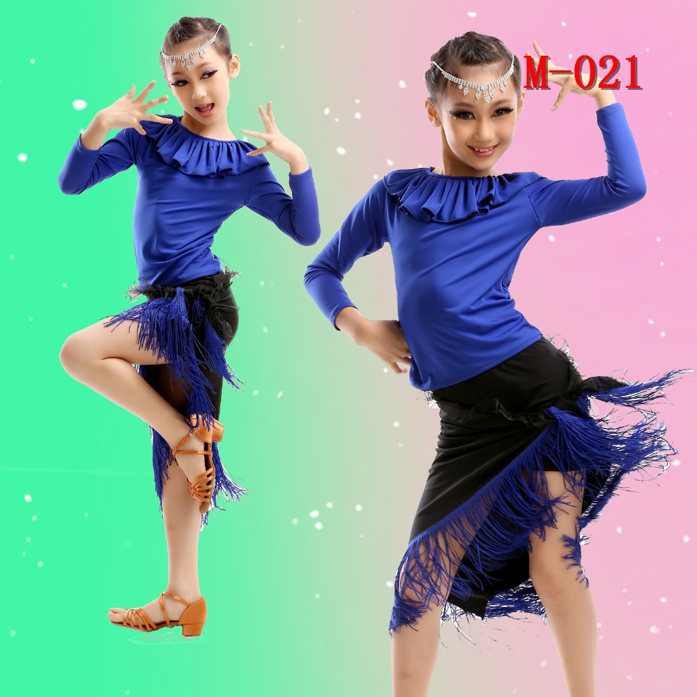 Western Design Salsa Dance Performance Dresses With Fringe Of Child Clothing