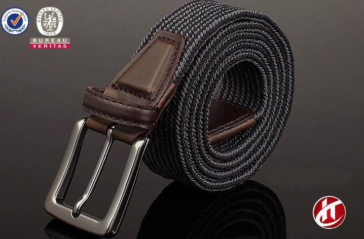 stripe colors and simple color men's leisure braid elastic belt with pin buckle