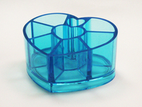 Clear Blue Heart Shape Acrylic Lipstick Storage Case
