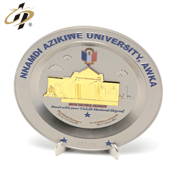 2019 Wholesale custom Silver inlaid gold hard  enamel souvenir plates for national day