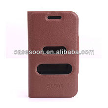 Mobile Phone Leather case for SAMSUNG GALAXY MINI 2 S6500 With Stand with caller ID display function