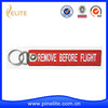 Wholesale remove before flight embroidery keychain, embroidery key chain for sales