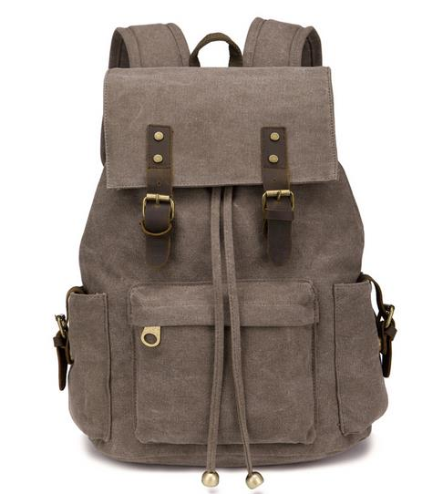 custom top quality college vintage waxed canvas backpack