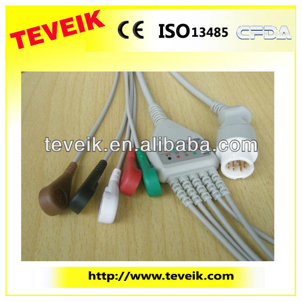 Patient Monitor HP ecg cable 5 leads ECG cable with snap IEC round 12pin with CE and ISO13485 Approved