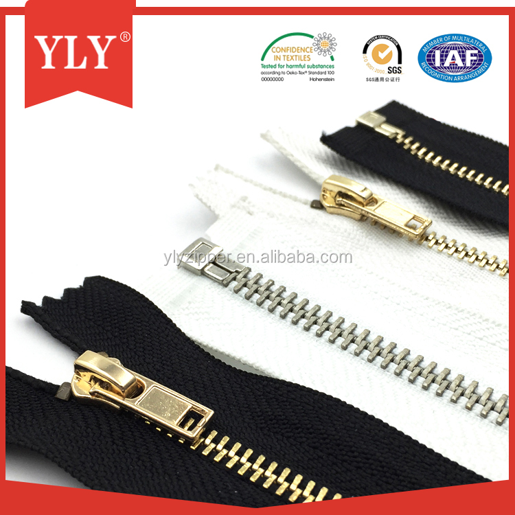 Open end gold teeth metal zipper with cheap price and high quality