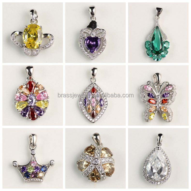 2015 Newest Fashion Jewelry Design Top Quality Modern Heart Shaped Rhodium Silver Pendant Wholesale