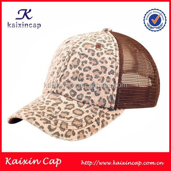 custom new design trucker mesh cap with digital printed logo/leopard trucker mesh cap/hat