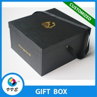 Export customized square flower storage box with ribbon handle
