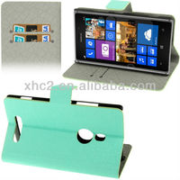 New Arrival Green Linen Texture Horizontal Flip Leather Case with Credit Card Slots and Holder for Nokia Lumia 925