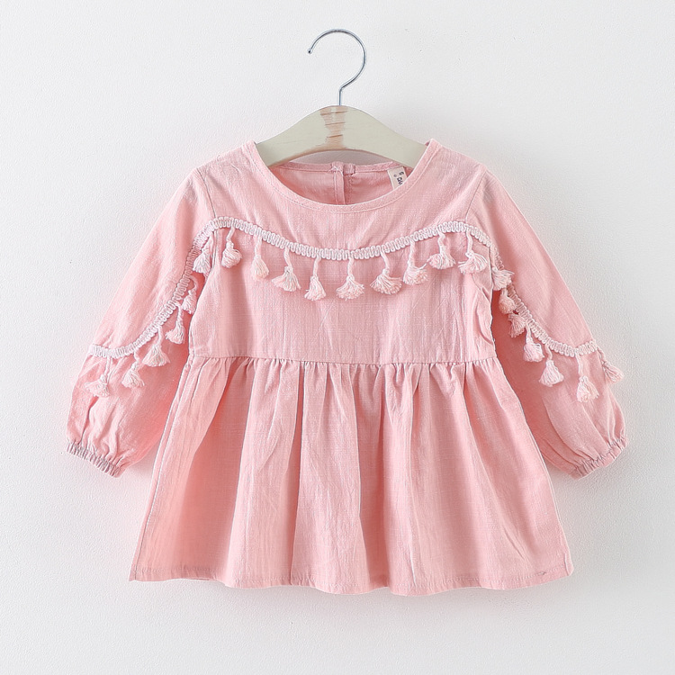 BSD1044 european style Wholesale 2017 Baby Girls Plain Cotton Dresses with tassel