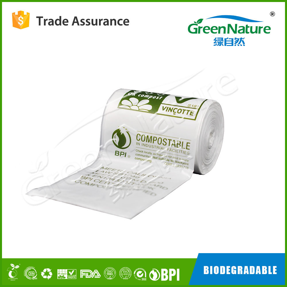 Food grade 100% compostable biodegradable plastic roll bags with EN13432 / BPI / OK compost home / ASTM D6400 certificates