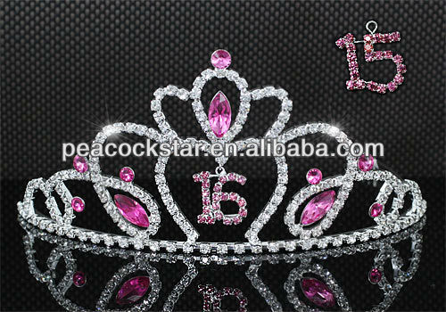 Wholesale Sweet 15 & 16 Crystal Pink Heart Quinceanera Tiara CT1546