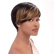 Fluffy Short Human Hair Wigs For Black Women Anti-microbial Cap customized