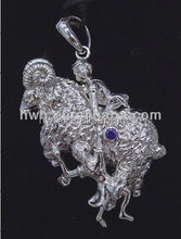 HWH003P Sterling Silver Zodiac Signs Jewelry Pendant - Aries