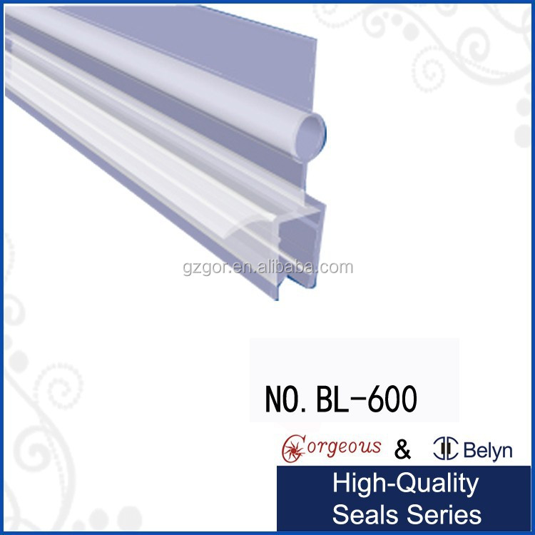 "Polycarbonate Shower Door Rail and Wipe Seal For 3/8"" Glass"