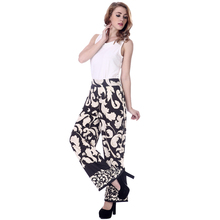 European style fashion chevron printed straight-leg pants for women